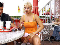 Blonde girl with big boobs fucking in public