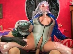 Busty babes in plastics for nasty fucking fun