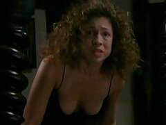 Alex Kingston Looking Sexy in Black Sleeping Clothes