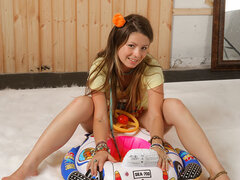 Playful 18-year-old kitty shows titties