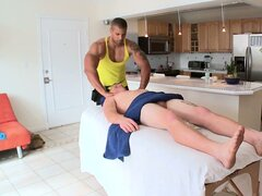 This all American stud gets a nice massage from his chocolate gay masseur