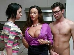 Stepmom MILF lets boy facial jizz his gf