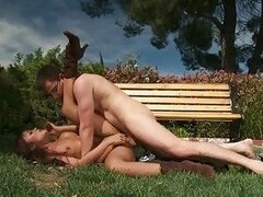 Perky brunette with boots gets drilled on the grass