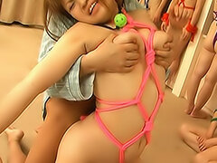 These pretty Asian girls are all tied with colorful ropes