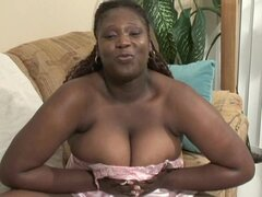 Fat ebony sucks her own nipples and a white dick