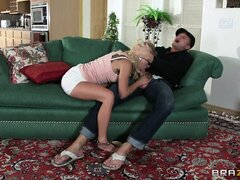 Sexy blonde babysitter sits on daddy's stiff boner for hardcore fun