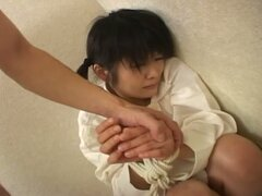 Cute japanese teen tied, tortured and mouth fucked hard