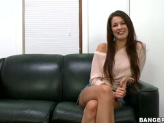 Very beautiful long haired brunette Kelsey Jones is attending her first ever porn casting and she looks pretty confident that she will get the part.