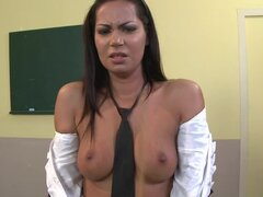Cipriana the sexy girl in school uniform gets punished