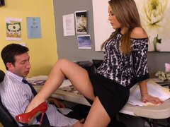 Kristina Rose is upset because her co-worker Jordan skipped lunch with her. But she's even more upset when she finds out that the reason he ditched her wasn't because he was working on a high-profile account, but because he was busy looking at porn mags at his desk! Well, he's got to make it up to her somehow, and she still wants to have lunch. So, he's gonna eat her pink taco, and she's gonna eat his cream-filled beef stick!
