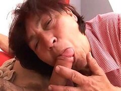 This dude visits his girlfriend's grandma to say hi. But Jane seduces him and offers some cash, if he fucks her. So he does and cums inside her pussy.