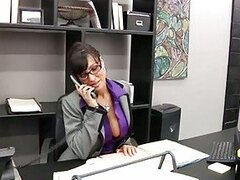 Desirable brunette boss with glasses gets nailed by her subordinate