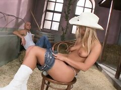Raunchy & Horny Cowgirl Takes Cowboys Two At A Time