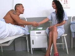 Horny brunette nurse gets fucked by a patient