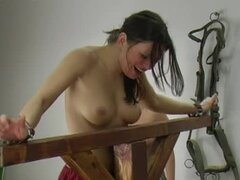 Topless women in whipping video