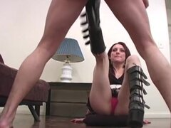 Boots chick kicks him in the balls