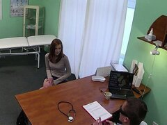 Amateur redhead chick examined and railed by a fake doctor