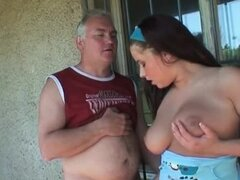 Busty babe with thick ass fucking older man