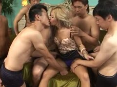 Nasty Japanese hottie gets fucked by a few horny dudes