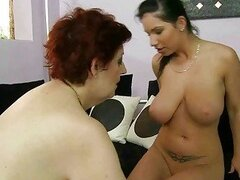 Fat granny and busty teen enjoying lesbian sex
