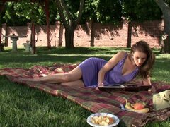 Interesting picnic with Samantha Ryan and her soaking pussy