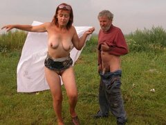 Kostya is a mature 61 slut who fucks some dude outside...