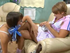 Hot teens try out some nylon licking action