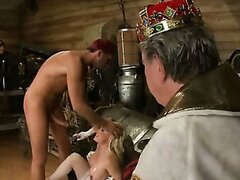 Queen giving head, as the king left to watch