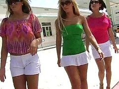 Three nympho girls hook up two fellas in the store and start banging right away