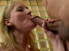 Sensual granny loves slurping down hot cock juice