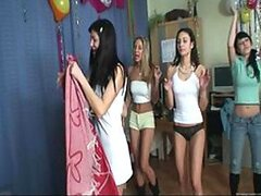 A bunch of randy teen babes celebrate a birthday by sucking and fucking strangers