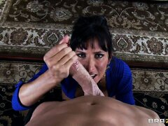 After sucking cock, Lezley Zen bends over a table for some hardcore fucking