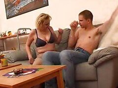 Sultry blonde mature gets that young dick