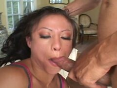 Lewd brunette Jayna Oso double cock drilling fun