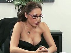 Elegant Asian Boss Miko Lee Interviews a Big Cock