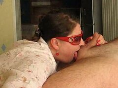 Chubby Russian wife gives me sloppy blowjob and takes facial