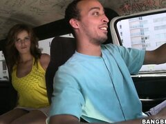 Sexy brunette babe Evelyn Mirage gets talked into a blowjob on the Bang Bus