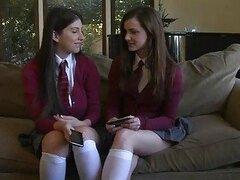 2 teens Lily Carter and Karina White get a dick