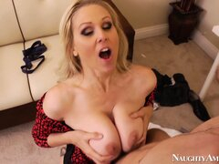 Julia Ann gets her pussy stuffed balls deep by her fuck-buddy