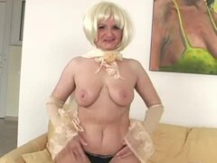 Lewd granny Marianne rides a BBC and gets cum on her face