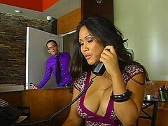 Sexy Asian receptionist gets fucked in an elevator