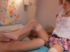 Elegant blonde teen in stockings teases her boy with feet and gives him a deepthoroat