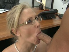 Blonde school teacher Julia Ann gives amazing blowjob