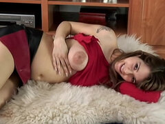 Pregnant solo girl shows shaved pussy