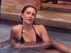 Gorgeous Brunette Madchen Amick Swimming In a Bonerific Black Bikini