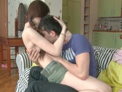 Cute teen and her boyfriend have an evening bang