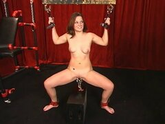Sexy young brunette has her pussy clamped and weighted down by master