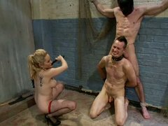 Divine bitch blond makes poor man suck other's dick eat her pussy