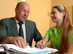 Horny blond Nina in mimi skirt gets fucked by her teacher