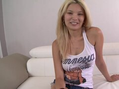 Casting with blonde Miyuki Son that is showing off her pussy and piercing